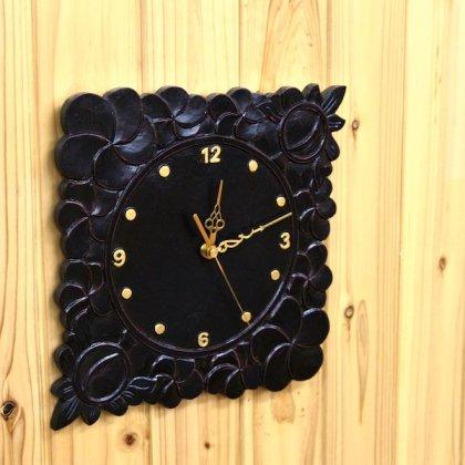 プルメリア彫刻壁掛け時計