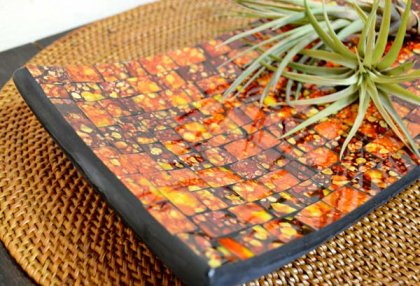 モザイクガラスのトレイ長方形(オレンジ)M