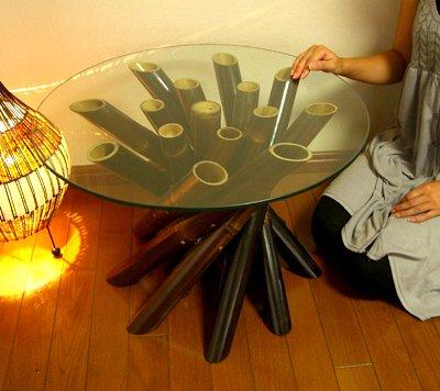 ブラックバンブーロールガラステーブル(M)