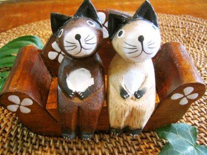 ナチュラル猫×2とソファSET10cm