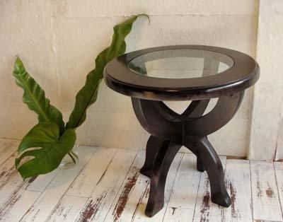 CAラウンドガラステーブル