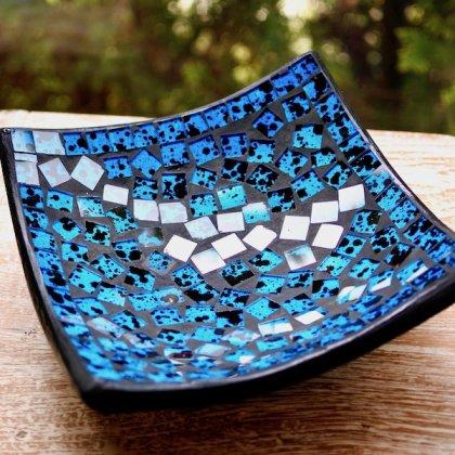 モザイクガラスのトレイ(ブルー)