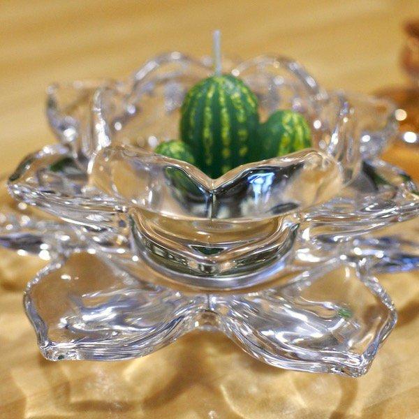 ロータスガラスキャンドルホルダー(クリア・ブラウン)