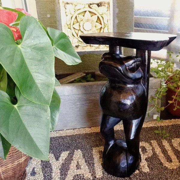 【11月上旬入荷予定】ブラウンカエルの花台50cm
