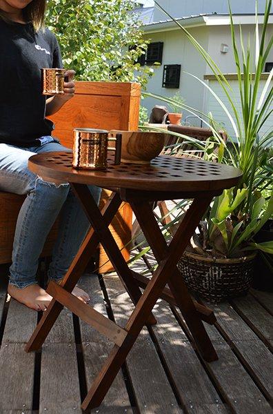 チーク材のガーデンテーブル(ラウンド)