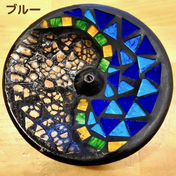 モザイクガラス香立てミニ丸(ゴールド・ブルー)