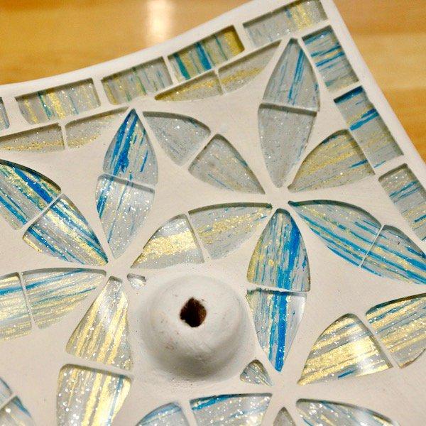 モザイクガラス香立て正方形ホワイト