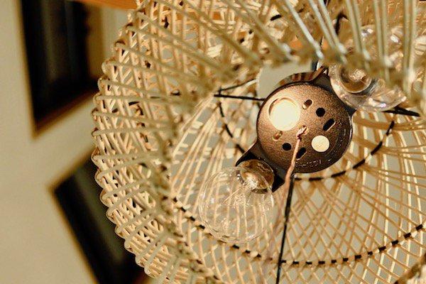 ラタン編み込みペンダントランプS30cm2灯型(ナチュラル・ブラウン)