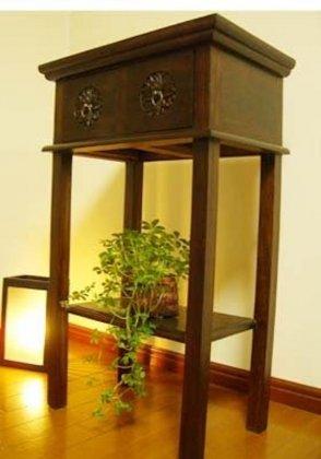 【2月下旬入荷予定】花彫刻のチークコンソールチェスト(2引出)