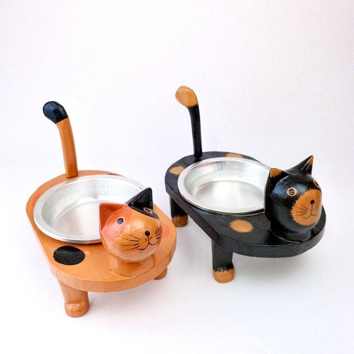 ネコのフードコンテナ(黒・三毛)