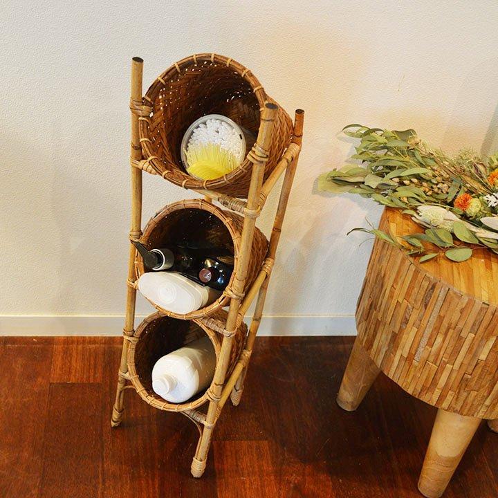 ロンボク島ラタンバスケット棚(筒形3段Sサイズ)