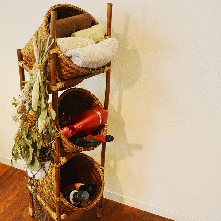 ロンボク島ラタンバスケット棚(筒形3段Lサイズ100�)