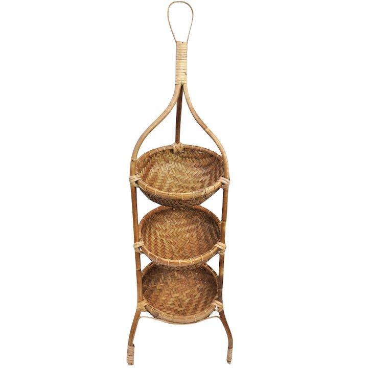 ロンボク島ラタンバスケット棚(丸型3段 取っ手付き80�)