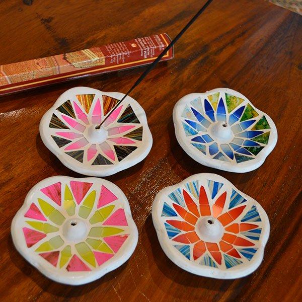 モザイクガラスの香立て(花型)