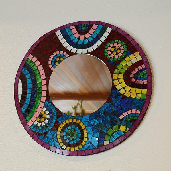 モザイクガラスの壁掛けミラー(ラウンド40�・マルチカラー)