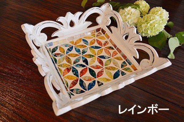 バリ島の彫刻トレイ(スクエア モザイクガラス)