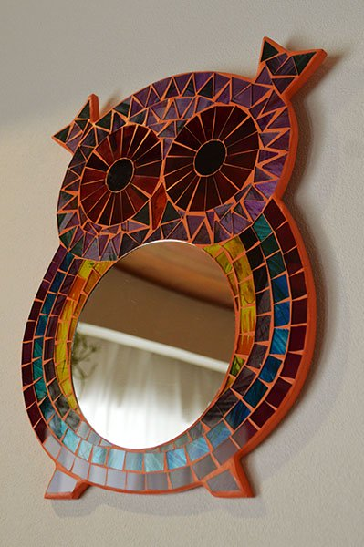 モザイクガラスの壁掛けミラー(フクロウさん)