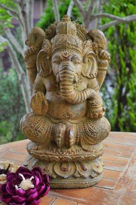 ガネーシャ像 背面バロン彫刻(Mサイズ 35�)