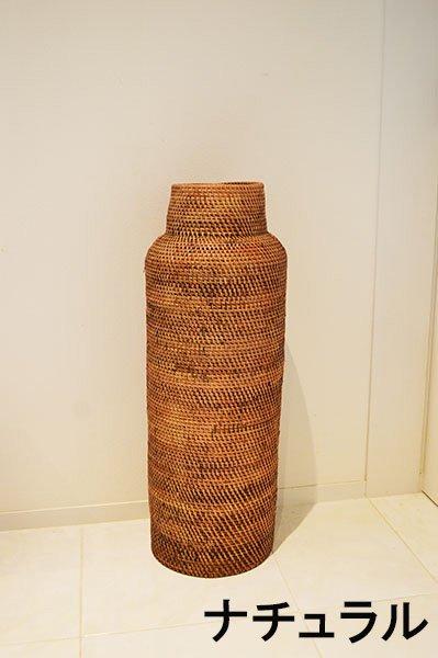 ラタンの壷型バスケット(L80�)