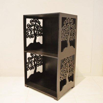 ジャワツリー彫刻のブックラック2段M
