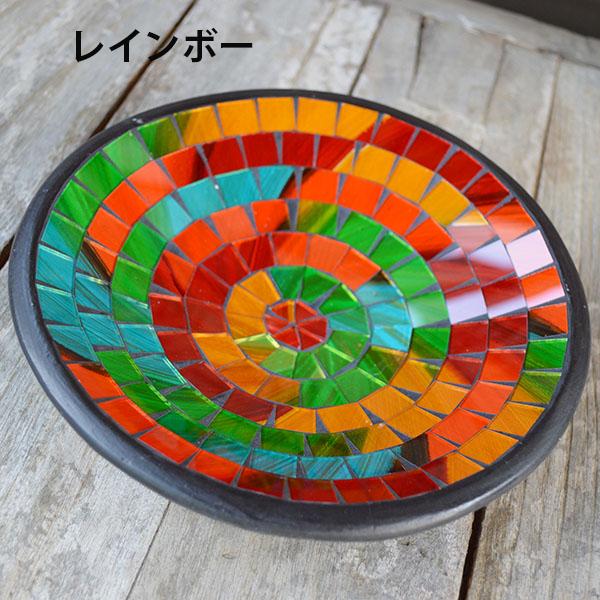 モザイクガラスのトレイ丸型(キャラメル・レインボー・ターコイズ)