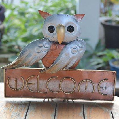 フクロウのWELCOMEボード(アイアン製)