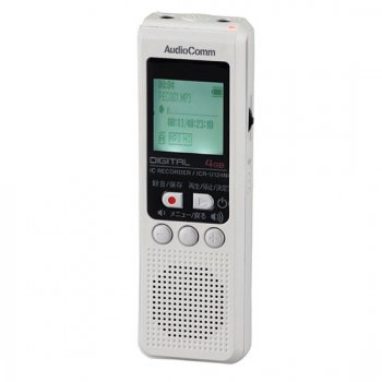 オーム電機 AudioComm デジタルICレコーダー 4GB【ICR-U124N】