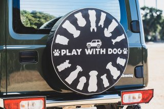 SPARE TIRE COVER WITH DOG スペアタイヤカバー ドッグ