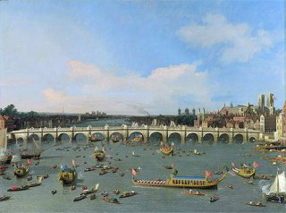 ロンドン:ウェストミンスター橋、ロンドン市長就任日に北から望む