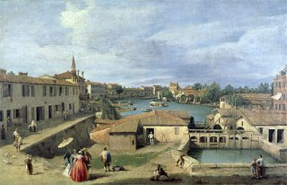 ブレンダ運河沿いのドーロ村の眺め