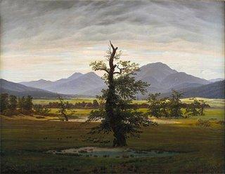 朝日のあたる村の風景(孤独な樹)