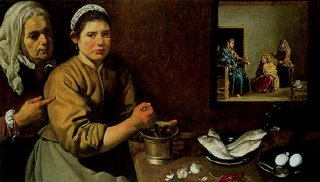 台所の情景、マルタとマリアの家のキリスト