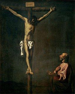 磔刑のキリストを描く聖ルカ