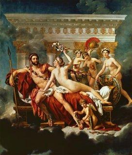 ヴィーナスと三美神に武器を取り上げられるマルス
