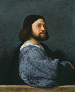キルトの袖をつけた男性の肖像