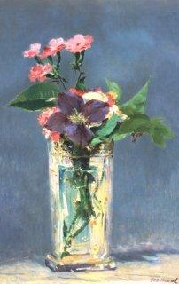 クリスタルの花瓶のクレマティス  原画同寸