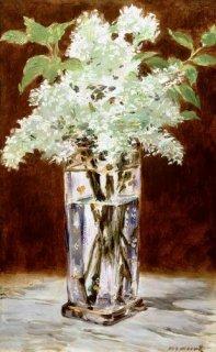 クリスタルの花瓶の白いライラック  原画同寸