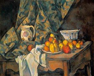 林檎と桃のある静物画