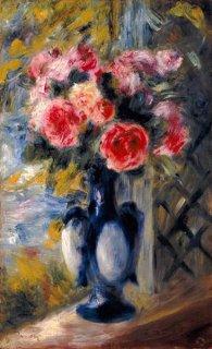青い花瓶の薔薇