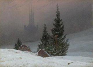 教会のある冬景色  原画同寸