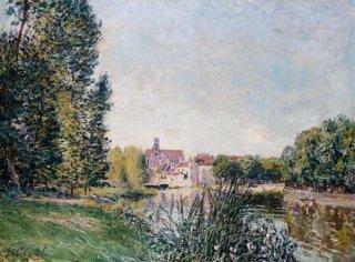 モレのロワン運河と教会