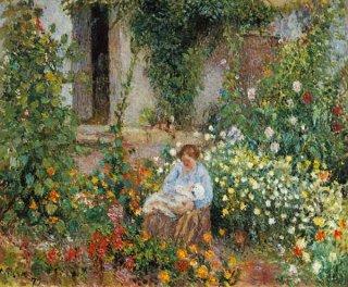 花園にいる母子  原画同寸
