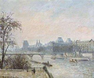 セーヌ川とルーヴル美術館、パリ  原画同寸