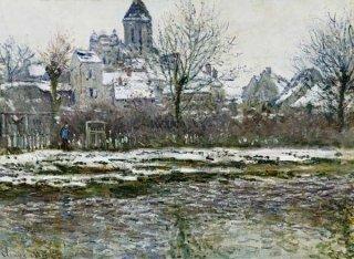 ヴェトゥイユの教会、雪景色