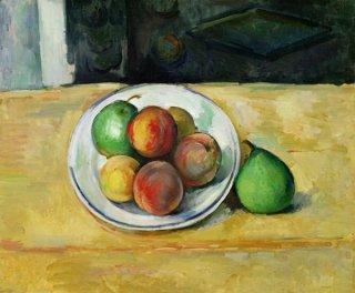 桃と二つの青い梨のある静物画  原画同寸