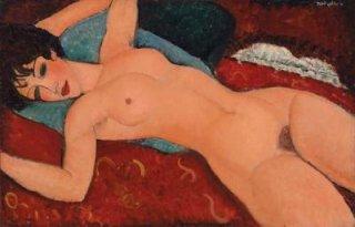 赤い裸婦(クッションの上の裸婦)