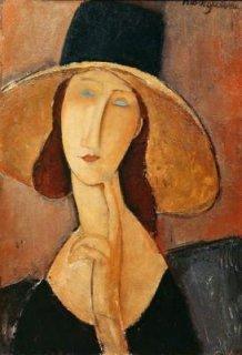 大きな帽子を被ったジャンヌ・エビュテルヌ  原画同寸