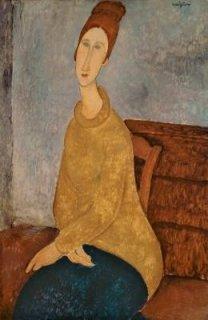 黄色いセーターのジャンヌ・エビュテルヌ