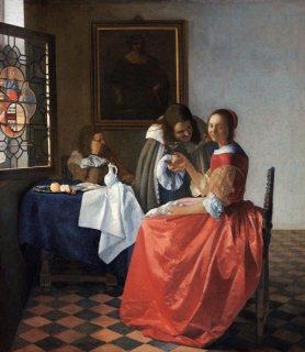 女性と二人の紳士(ワイングラスを持つ若い女)