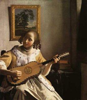 ギターを弾く女  原画同寸